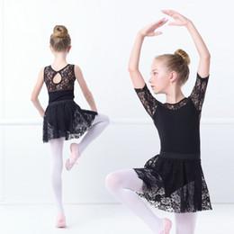 2019 abiti romantici di cotone Ragazze Ginnastica Balletto Body Dance Dress Lace Cotton Body Gonne Romantiche Balletto Training Dance Wear For Kids abiti romantici di cotone economici