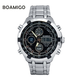 Wholesale Ceramic Camera - ristwatch camera watches men luxury brand BOAMIGO military sports watches Dual Time Quartz Digital Watch LED Stainess steel band wrist...