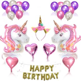 2019 hermosos paquetes Unicornio globo fiesta paquete conjunto Unicornio globo de cumpleaños adorno cadena globo juguetes niños de conjunto hermosa versión del conjunto de cumpleaños rebajas hermosos paquetes