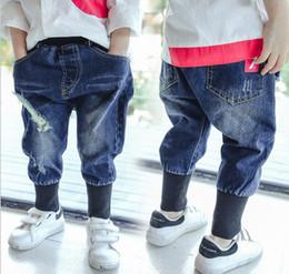 Wholesale Japan Fashion Style Jeans - Boys jeans fashion kids hole denim pants 2018 spring new children elastic waist harem pants boys double pocket cowboy pants R2046