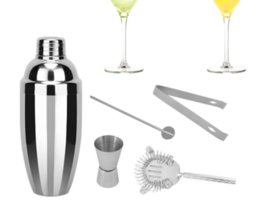 Wholesale Measuring Cups Spoons Set - 750ml Stainless Steel Cocktail Shaker Set Ice Strainer Clip Mixing Spoon Measure Cup Bar Tools Cocktail Set