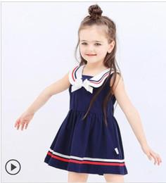 bbd4a801fc7b2 Vente en gros au détail enfant vêtements été style militaire sans manches  robe bambin filles rayé robe livraison gratuite