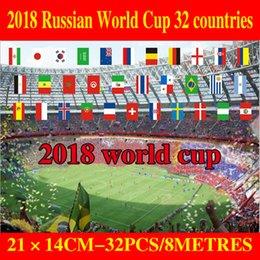 Juego de cuerdas online-2018 bandera de la secuencia de la Copa de Europa 14 * 21 cm y 20 * 28 cm Pequeña bandera rusa Barra de Europa Juegos Olímpicos Bar Banderas colgantes Envío gratis G205S