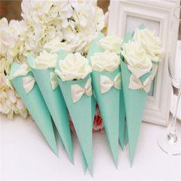 caixa de cone doces Desconto Caixas de doces de casamento Rose papel flores cone forma Bowknot diamante várias cores doces caixas de papel caixas
