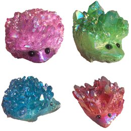 Wholesale Carved Stone Figurines - Cluster Hedgehog Drusy Aura Titanium Natural Green Red Blue Pink Crystal Quartz Stone Vug Animal Wand Point Figurine healing purification