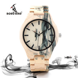 Wholesale Painting Wooden Boxes - BOBO BIRD Mens Watch Ink Painting Design All Maple Wood Watches for Males in Wooden Gift box