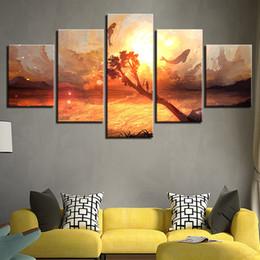 pintura de peixes sala de estar Desconto Arte Modular Decoração Cartaz Sala de estar 5 Painéis Peixe Em Céu Colorido HD Impresso Pintura Moderna Da Lona Parede Pictures Home