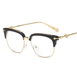 dioptria da lente Desconto Cubojue homens óculos mulheres estrela óculos de marca quadros para homens de luxo de ouro quadrado metade aro claro lente miopia dioptria eyewear