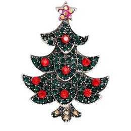 Billige grüne broschen online-Bulk Günstige harte grüne Emaille Strass Glitter Cloisonne Weihnachtsbaum Pflanze Brosche Anstecknadel