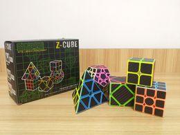 Wholesale Carbon Fiber Cube - Zcube Set 5pcs  box Carbon Fiber Magic Cube Pyraminx Dodecahedron & Axis Cube &2x2 Cube &3x3 Speed Puzzle Toy Gift -48