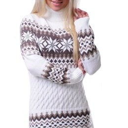 vestito da casa xl Sconti GZ HOUSE Maglione lungo lavorato a maglia dolcevita casual Moda autunno stampa floreale nero maglione vestito Vintage maglioni pullover