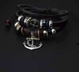 braille en cuir Promotion Bracelet en cuir PU bijoux hommes bracelet ancre bracelet manchette pour hommes accessoires main charmes multicouches braclets