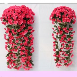 Wholesale violets flowers - Simulation Violet Hanging Wall Silk Flower Wedding Ceremony Display Window Artificial Flower Decorate Hydrangea Hot Sale 14 5nn Ww