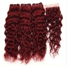 Wholesale Malaysian Wavy Virgin Hair 4pcs - #99J Wine Red Malaysian Water Wave Human Hair Bundles with Closure 4Pcs Lot Burgundy Wet Wavy Virgin Hair Weave With 4x4 Lace Closure