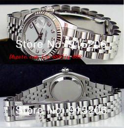luxo mulheres relógios senhora pérola Desconto Top Quality Relógios De Luxo Senhoras 18k Branco Diamante 179174 Automático das Mulheres Esporte De Pulso Branco Mãe De Pérola Tem