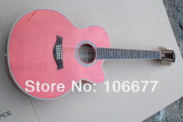 """Wholesale Acoustic Pink - Free shipping Taylor 43"""" Abalone Inlay 12 Strings Natural Wood Solid Spruce Circular Bead Pink Acoustic Guitar"""