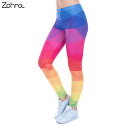 Arco-íris elástico on-line-Zohra Outono Inverno Leggings Impresso Mulheres Legging Triângulos Coloridos Rainbow Legins Cintura Alta Elastic Leggins Silm Calças Femininas