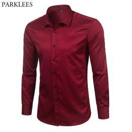4c1f20b66d Marca Wine Red Bamboo Fiber Hombres Camisas de vestir Slim Fit manga larga  Chemise Homme Casual Botón abajo elástico Formal camisa masculina