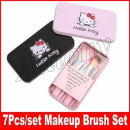 Wholesale Pink Cosmetic Brushes - Hello kitty Makeup Brushes 7 Pcs Brush Set Tools Soft Nylon Makeup Cosmetic Make Up Brush