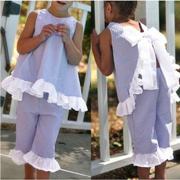 Wholesale Kids Shirt Tie - Summer Girls Clothing Sets Ruffled Bow Tie Tops Pants Suits Baby Kids Clothes Baby Grid Shirts Shorts Girl Fashion Petal Outfits
