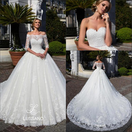 Wholesale Wedding Dress Bolero Sheer Lace - 2018 Strapless Lace A Line Wedding Dresses Off The Shoulder Long Sleeves Lace Bolero Beaded Sash Court Train Wedding Bridal Gowns