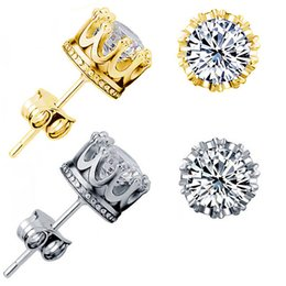 Wholesale Cz Gold Studs - Gold Earring Mens 6mm Round Cut CZ Men Earrings AAA Cubic Zirconia Stud Earrings Gold Earrings for Men Women 3.50 Carats Crown Earring