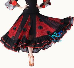trajes de swing Desconto Senhoras Longo Swing Dança Saia Traje Mulheres Dança Do Ventre Valsa Flamenco Ballroom Vestido De Competição Outfits Espanha Dancer Saias
