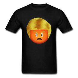 T-shirts emoji gesichter online-Emoji Trump 2018 Orange Gesicht Donald Gedrucktes Schwarzes T-Shirt Herren Sommerkleidung O Neck Hip Hop Lose Streetwear Lustig