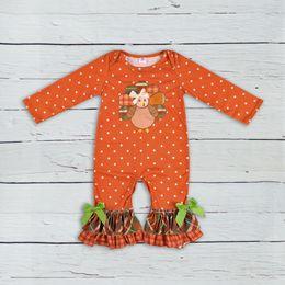 Tenues d'automne pour bébé en Ligne-Jour de Thanksgiving Vêtements Pour Bébés Bébé Outfit Turquie Motif Automne Combinaisons Nouveau-né Coton Fille Boutique Vêtements GPF807-207 Y18102008