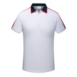 Wholesale T Shirts Striped Red White - Spring Summer 2018 polo shirt fashion Designer Short Sleeved polo t shirts men tee design printing poloshirt clothes polos tops 3XL