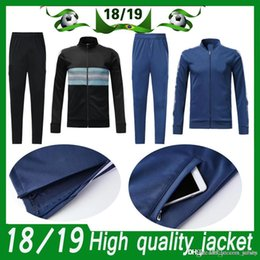 d6e01ae9307 Argentina Long Sleeve Jacket Suit adult Kit Soccer Jersey black Training  Uniform 2018 19 Argentina messi blue Football Suits Jacket+Pants