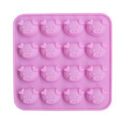 Cabeza de cerdo molde de pastel de silicona 16 hoyos de dibujos animados de expresión única cabeza de cerdo DIY chocolates modelo manual tinte de jabón desde fabricantes