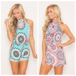 Wholesale ethnic shorts - Cheap Summer Ethnic Printed Short Jumpsuits Women High Neck Tie Elastic Waist Sleeveless Romper Shorts 80401