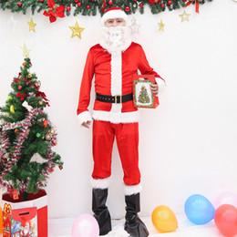 homem de traje de papai noel Desconto Adulto Papai Noel Traje Terno de Pelúcia Pai Roupas Extravagantes Xmas Cosplay Adereços Homens Casaco Calças Barba Belt Hat Conjunto de Natal
