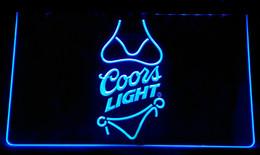 décorations de mariage de citrouilles blanches Promotion LS105-b Coors Light bière Bikini Bar Pub Neon Light Sign Décor Livraison gratuite Dropshipping En Gros 8 couleurs à choisir