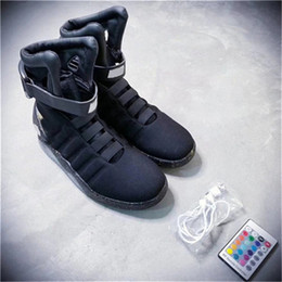 Wholesale mag sneakers - Air Mag Sneakers Marty McFly's LED Shoes The Future Glow In The Gray Black Mag Marty McFly Sneakers With Box Top Quality Basketball Shoes