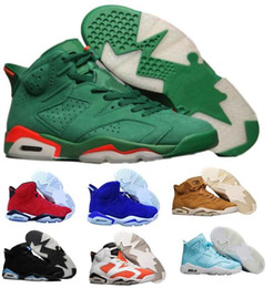 Wholesale Women Tennis Tops - Top Air 6 Basketball Shoes Sneaker Gatorade UNC Mike Men Women Green Suede 6s VI Sport Mens Tennis Trainer Athletic Zapatos Hombre Shoe