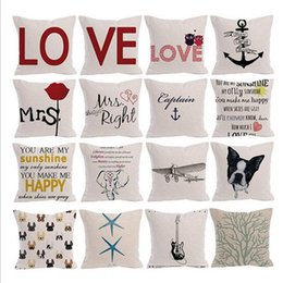 Wholesale Sofas Letter - Letter Pillow Cases Linen Square Cushion Cover Love Printing Sofa Throw Pillows Covers Valentine's Day Home Decor YW320