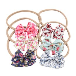 Wholesale Flowered Fabrics - 10 Style Handmade Boutique Nylon Headband with Fabric Bow for Baby Girls Hair Accessories Hair Flowers Head Band Wholesales