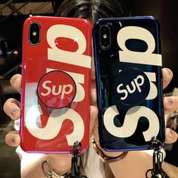 Deutschland Neuer IPhone Fall für IPhone XSMAX XR XS X6 / 6S 6plus / 6S Plus 7/8 7plus / 8plus Mode kühlen Telefonkasten mit Airbag-Ständer Lanyard2 2 Farbe ab Versorgung