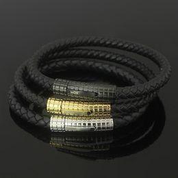 Vendita calda 316L bracciale in acciaio di titanio marca per uomo braccialetto con chiusura e vera pelle in 21 cm per uomo braccialetto regalo di gioielli da sposa da