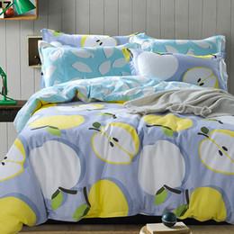Wholesale Orange Flowered Comforter - 2017 autumn Fruit duvet cover queen size lemon bed linens 100% cotton bedding set bed cover set cherry Christmas bedding flower