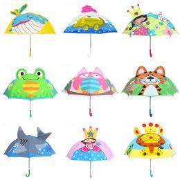 Wholesale 3d Nylon - Kids 3D Cartoon Umbrellas 18 Inch 32 Radius Dinosaur Princess Lion Bee Duck Frog Rainy Sunny Hanging Long-handle Bumbershoot 2-6T