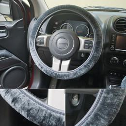 2019 conjunto de cables Universal Cotton Car Steering Wheel Cover Premium Soft Short Plush Winter Car Grips Skin 3-Color # 2381