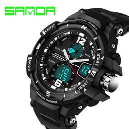 nuovi orologi shanghai Sconti 2017 promozione nuovo marchio sanda moda orologio da uomo stile militare impermeabile orologi militari shock analogico digitale di lusso s927
