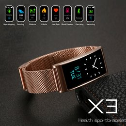 Wholesale pressure testing - Multifunction X3 Waterproof Smart Watches Heart Rate Test Metal Watch Band Bluetooth For Phone Sport Swimming GPS Pedometer