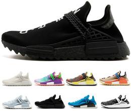 crème nue Promotion Adidas nmd human race Race humaine Hu trail pharrel hommes femmes chaussures de course holi noir nerd Pale nude crème formateurs hommes concepteur chaussures de jogging sport baskets
