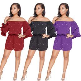 Новые весенние женщины вскользь вышитый бисером Rompers льняной сплошной цвет Slash шеи длинней втулки белизны Loose короткий комбинезон с поясами Черный фиолетовый Burgundy от