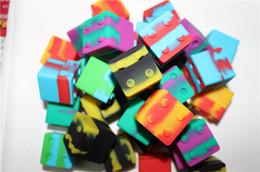 Aceite de bho online-Caja de aceite bho cuadrada de silicona Slick stack con forma de lego envase de 9 ml. Caja de silicona. Cera para almacenamiento de cera para concentrados de cera y BHO.