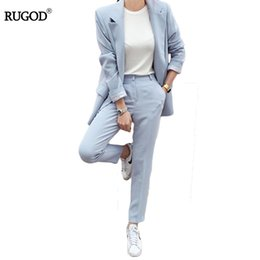 Wholesale Ladies Business Trousers - Rugod 2017 Autumn Elegant Office Lady Business Suits Women 2 Two piece sets Femme Long Sleeve Jacket and Trouser suits Plus Size